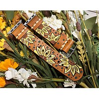 Leather Apple Watch Band with Yellow Sunflowers 38mm or 40mm