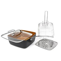 "Gotham Steel 9.5"" Square Copper Deep Pan"