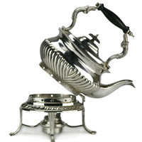 Silver Plated Spirit Tea Kettle on Stand, Antique English 19th Century