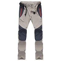 2017 Mens Brand-Pants Summer CLOTHING Patchwork Quick Dry Pants Breathable Waterproof Straight Trousers Casual Long Khaki Pant