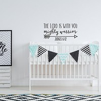 The Lord Is With You Mighty Warrior Judges 6:12 Wall Decal - Religious Nursery Wall Decor - Scripture Nursery Decor - Bible Verse Wall Decal
