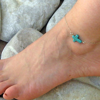 Turquoise Cross Anklet, Turquoise Cross Ankle Bracelet, 925 Sterling Silver , Foot Jewelry, Beach Jewelry, Foot Bracelet, Handcrafted Anklet