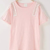 Light Pink Short Sleeve Lace Detailed Shirt