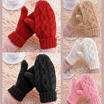 Korea Fashion Lovely Women's Soft Wrist Thick Warm Winter Knitted Gloves Mittens = 1958094148