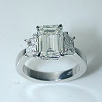 6.94ct I-VS2 Emerald Cut Diamond Engagement Ring GIA CERTIFIED DIAMOND  18kt White Gold