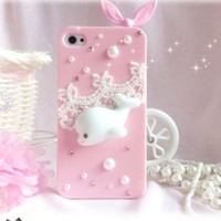 cute pink whale lace case for iphone 4/4s/5