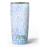 Blue and White Watercolor Leaves Pattern - Skin Decal Vinyl Wrap Kit compatible with the Yeti Rambler Cooler Tumbler Cups