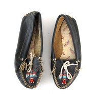 vintage black leather beaded moccasins shoes / ethnic slip ons
