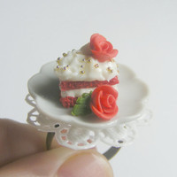 Scented or Unscented Roses and Red Velvet Cake Slice Miniature Food Ring - Miniature Food Jewelry,Handmade Jewelry Ring