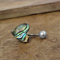Paua Shell Heart Belly Button Jewelry Ring by MidnightsMojo
