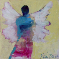"Original Angel Painting, Abstract Figure, Under 100 Affordable Art ""Angel Pride"" 8x8"""