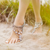 Ladies SILVER Barefoot Sandals. Sold as pair. Unique tribal footwear. Style  Ancient Dance silver 'B1448'