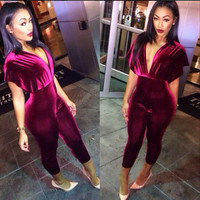 New 2016 Summer Style Women Fashion Red Bodycon Jumpsuit V-Neck Sexy Jumpsuit Corduroy Sexy Rompers For Women Macacao Feminino