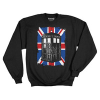 Doctor Who TARDIS in Union Jack Fleece Sweater - Ripple Junction - Doctor Who - Sweatshirts at Entertainment Earth