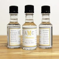 Custom Mini Bottle Liquor Labels & Empty 50 mL Bottles Monogram Alcohol Party Modern Wedding Favors Thank You Reception Guest Gifts EB-1019