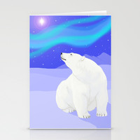 Northern Lights Christmas Stationery Cards by Rachel Sample
