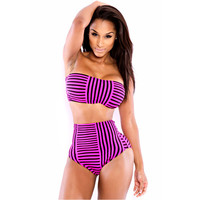 [Summer Sale] Stripes High Waist Ladies New Arrival Striped Bikini = 4804210628