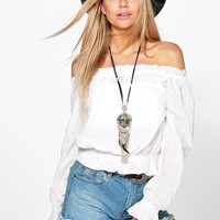Rose Off The Shoulder Woven Top