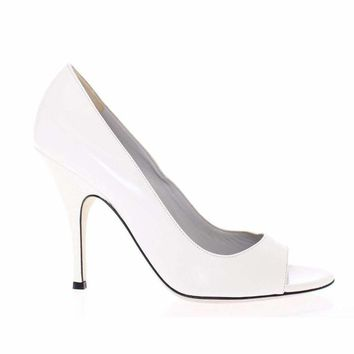 Dolce & Gabbana White Open Toe Leather Pumps Shoes