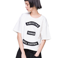 Amazing Things Will Happen Print Short Sleeve Graphic Tee