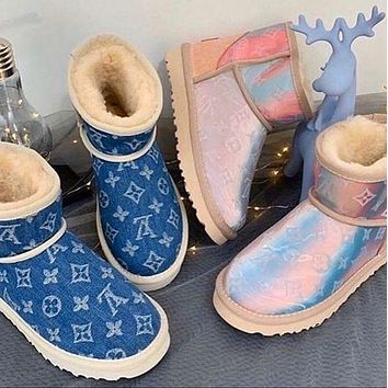 UGGx Louis Vuitton LV letter jacquard autumn and winter new snow boots classic mid-tube cowhide shoes for men and women cotton shoes