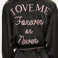 Missguided - Black Satin Piped Embroidered Slogan Robe