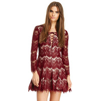 Burgundy Long Sleeve Lace Dress with Neck Criss Cross Lace