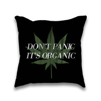 Don't Panic It's Organic Vintage Cannabis Print Throw Pillowcase Only