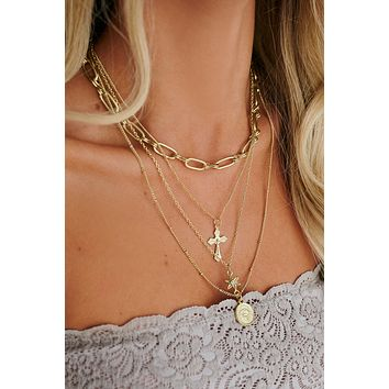 Stuck On You Layered Necklace (Antique Gold)