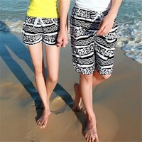 Geometrical and Stripes Print Quick Dry Couple Beach Shorts