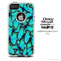The Butterfly Turquoise Bundle Skin For The iPhone 4-4s or 5-5s Otterbox Commuter Case
