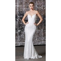 Long Fitted Iridescent Sequin Gown Off White Lace Up Back Deep Sweetheart Neckline