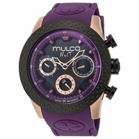 MULCO MW5-1962-087 Nuit Mia Multi-Function Black Dial Purple Silicone band Womans Watch