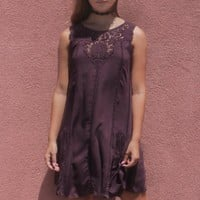 Oleander Sleeveless Shift Dress With Crochet Lace Neck Trim