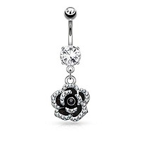 Pave Crystal Set Petals on Black Flower Dangle 316L Surgical Steel Belly Button WildKlass Navel Rings