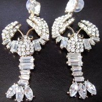 A Fun Pair Of 3 Inch Sparkling Ice Crystal Lobster Statement Earrings!
