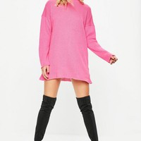 Missguided - Hot Pink High Neck Slouchy Sweater Dress