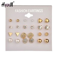 12 Pairs/Set vintage Crystal Gold Color Stud Earring small Triangle Silver Color Earring Set For Women Jewelry Oorbellen Brincos