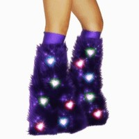 Purple Heart LED Fluffies Furry Fluffy Rave Boot Cover Legwarmers