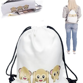 Monkeys Drawstring Bag Unisex Travel Sports Gym Lightweight Adjustable Sports Sac Pack BONUS! FREE Pencil Case