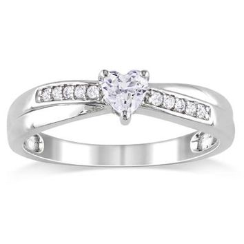 Heart-Shaped Lab-Created White Sapphire and Diamond Accent Promise Ring in Sterling Silver - View All Rings - Zales