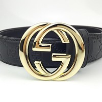 GUCCI Vintage Embossed Logo Belt Double G Buckle Belt