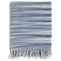 Watercolor Indigo Blue Cotton Throw Blanket