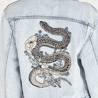 BDG Embroidered Denim Trucker Jacket - Urban Outfitters