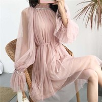 Beading  Knee-Length Flare Sleeve  Dress