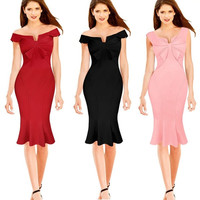 New Fashion Women Vintage Bandage Formal Work Elegant Prom Evening Party Mermaid Midi Wiggle high quality Bodycon Pencil Dress = 5738895297