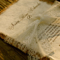 Do It Yourself  Lace and Burlap Wedding Invitation - Rustic Barn Wedding