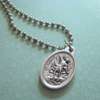 Protect Me St. Michael Police / Military Ball Chain Necklace (Silver Tone)