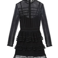 Self-Portrait Lace Panelled Mini Dress - ShopBAZAAR