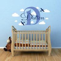 Airplane Wall Decal, Personalized Airplane Wall Decal, Airplane Clouds Wall Decal, Airplane Decor,  Plane Wall Decal With Clouds